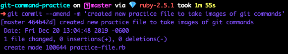 terminal screenshot of git commit --amend -m 'created new practice file to take images of git commands'