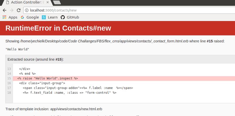 """Hello world"" error screen"