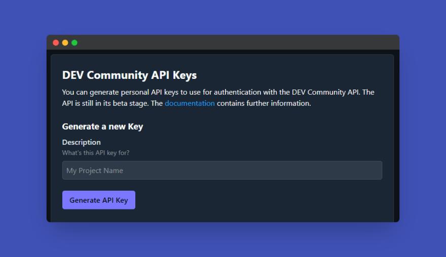 Generate a DEV API Key
