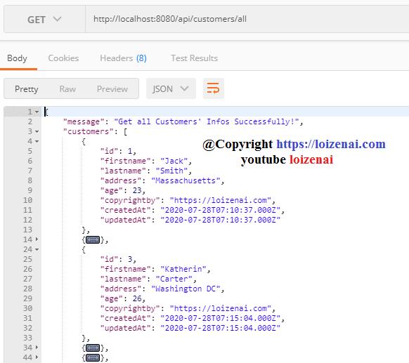 Testcase 2 – Nodejs Express PostgreSQL GET Request: get all data from PostgreSQL