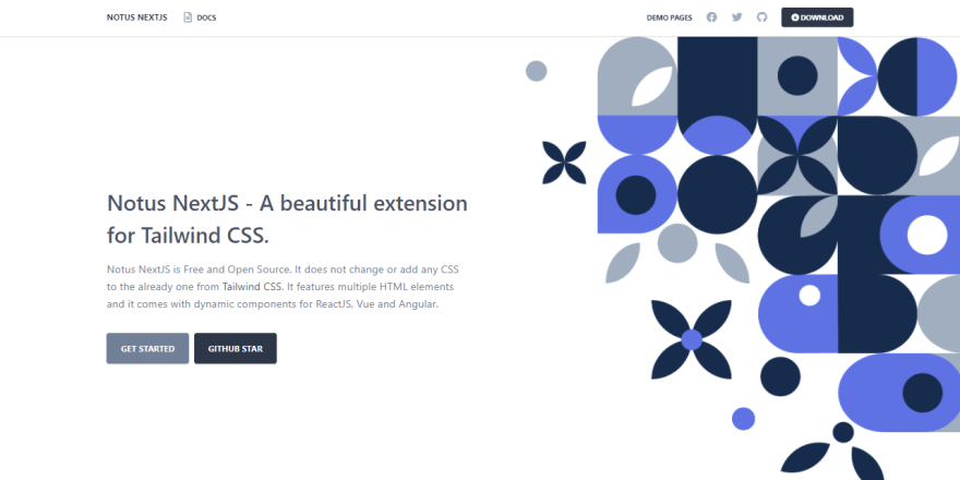 Next.js Template - Notus, crafted with Tailwind CSS (Free Product).
