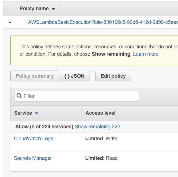 SecretManager policy added