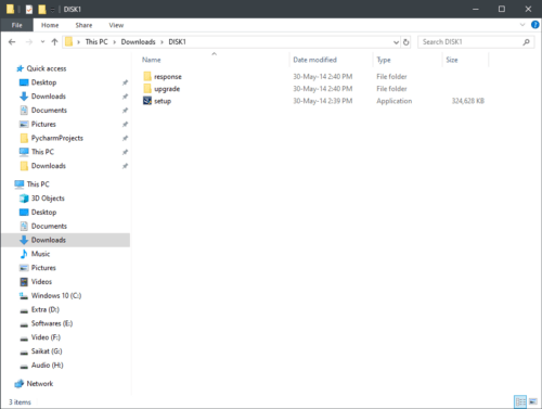 Screenshot of extracted folder and setup files