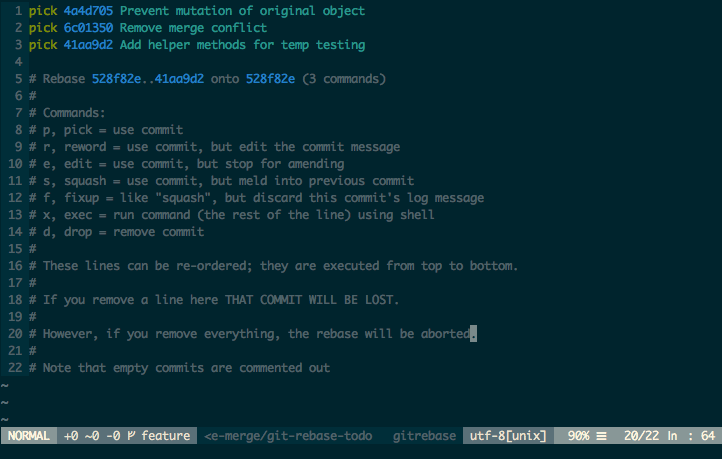 Vim window with list of unchanged commits