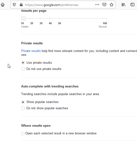 Google search preference settings