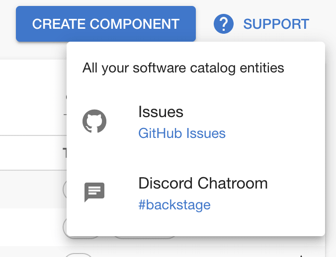support button with a dropdown with links for GitHub issues and a discord chatroom