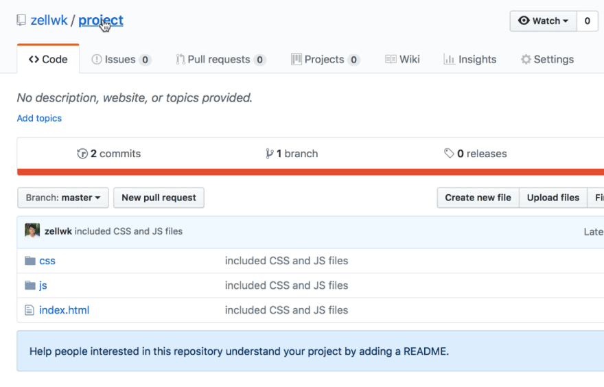 Git repository page updated with the files you pushed