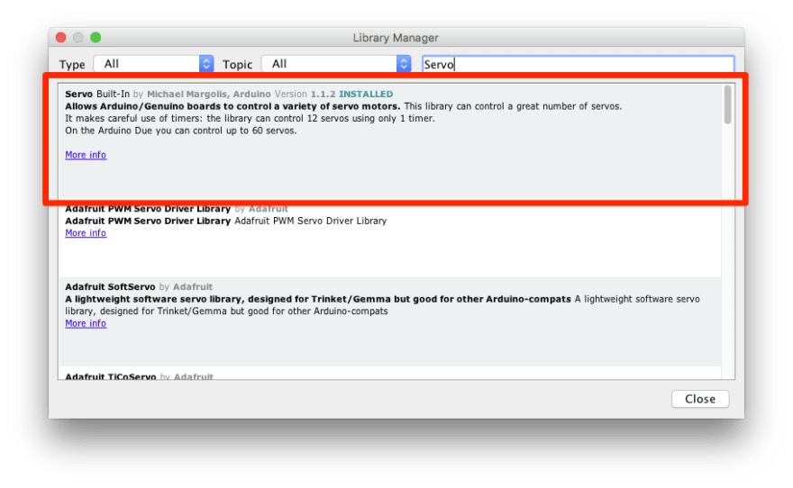 screenshot of installing servo library