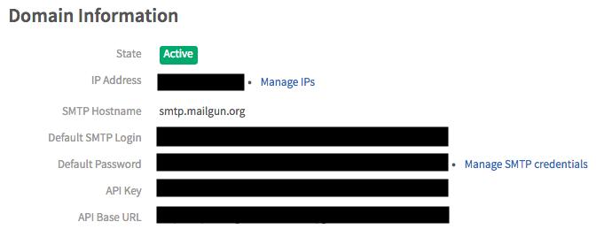 Mailgun's domain information page
