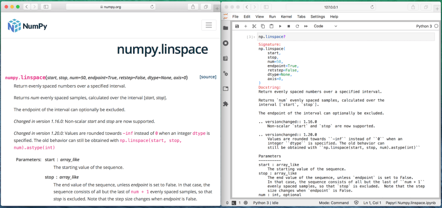 numpy.linspace on numpy.org