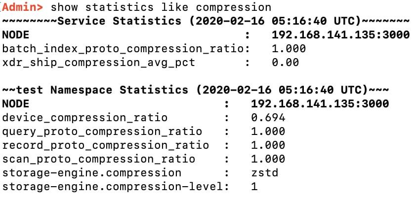 storage compression stats