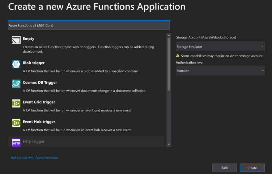 Configurations for Azure Functions - triggers, storage and authentication