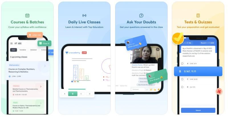 React Native apps: Unacademy app screenshots