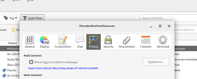 A screenshot of thunderbirds preferences with the 'Privacy' tab selected and the mouse cursor hovering over the checkbox 'Allow remote content in messages'