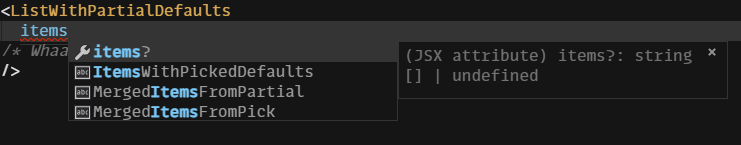 JSX Component where props have become partial