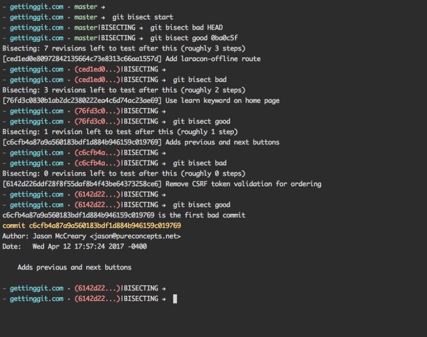 Output of git bisect