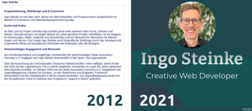 Screenshots of Ingo Steinke's website in 2012 and in 2021