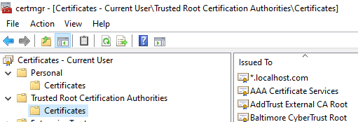 Certificate Manager - Trusted Root Certification Authorities Store