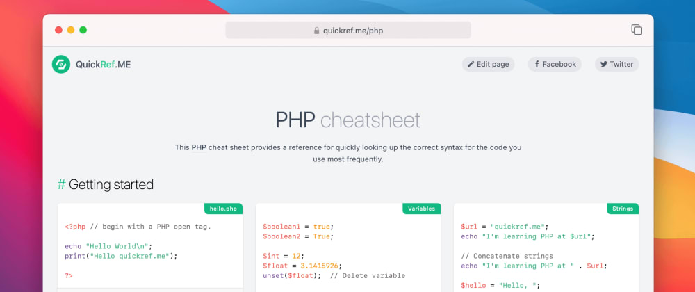 Cover image for PHP cheat sheet