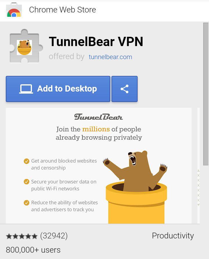 TunnelBear Chrome Extension