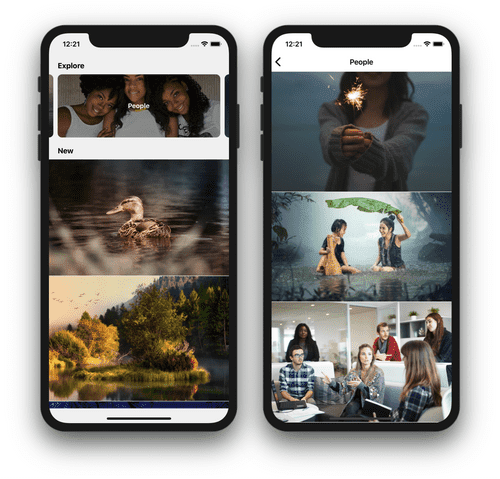 React Native stock photo browser explore and search results screens