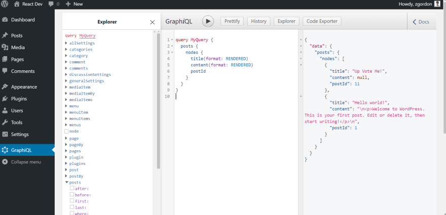 WP GraphiQL Installed