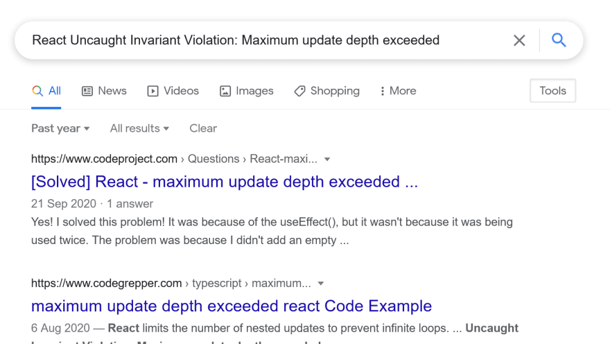 Google search for React error message