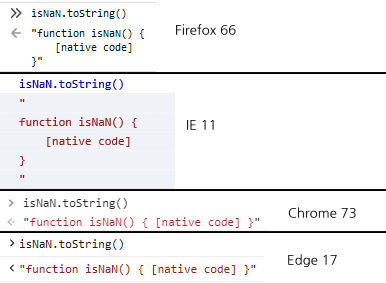 """The result of """"isNaN.toString()"""" in different browsers<br>"""