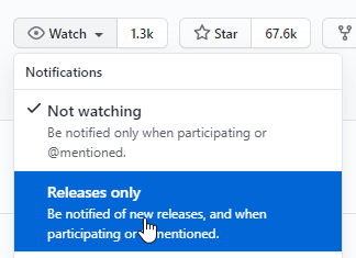 Select Watch and Releases Only at github.com/microsoft/terminal