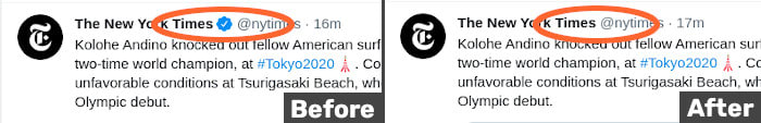 Pic of how filters hide blue ticks for verified accounts, before and after for an NYT tweet