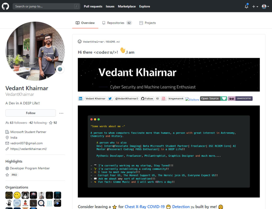 GitHub Profile Screenshot of Vedant Khairnar