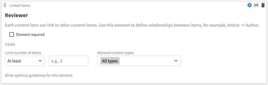 The Reviewer Linked Item content element has no configuration