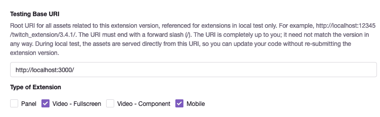 Twitch Extension configuration panel