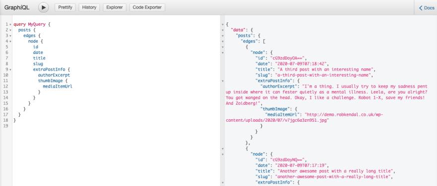 All WordPress posts GraphQL query