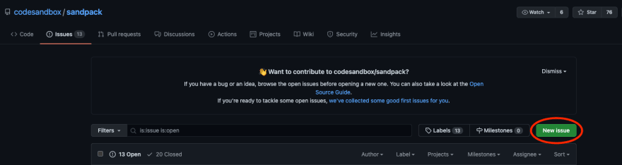 New Issue button on GitHub