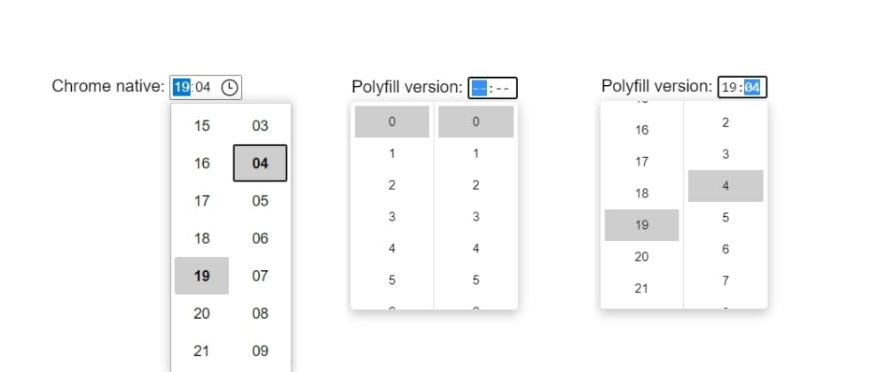 Cover image for input[type=time] polyfill for IE, Safari etc