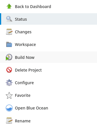 Jenkins Project menu with the Build Now Button highlighted