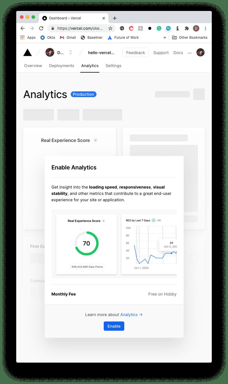 Enable Vercel Analytics
