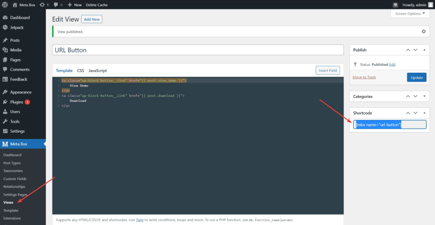 The view will generate a shortcode for the URL button