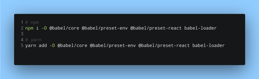 Installing Babel, some presets and a loader