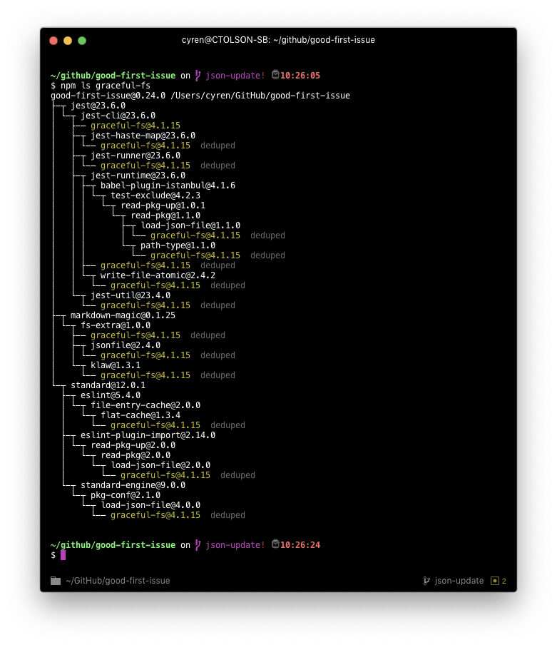 Terminal output of `npm ls graceful-fs` in my good-first-issue project. The intent of showing this is to provide an example of what kind of output you can expect from the `npm ls <package>` command in a real-world project.