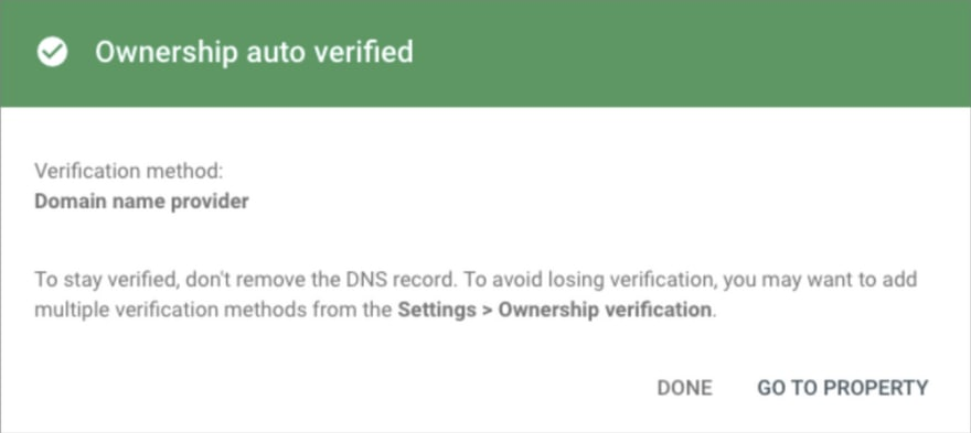 Screenshot of Google Site Verification