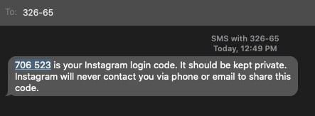 Instagram verification SMS code