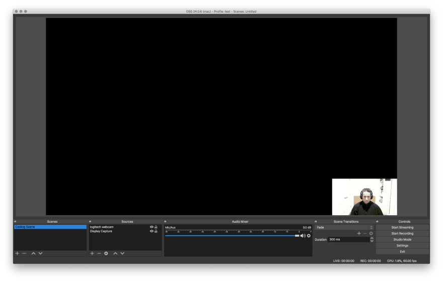 OBS display source showing a black screen