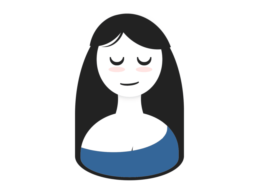 Illustration of a woman smiling with her eyes closed