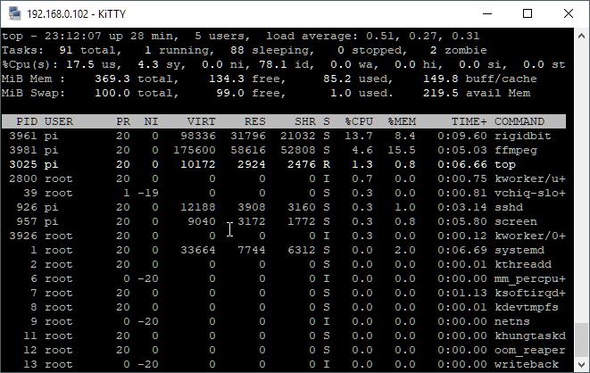 Screenshot of RigidBit and FFMPEG running together.