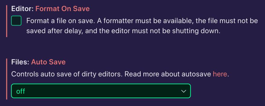 Screenshot of Saving Settings in VS Code editor.