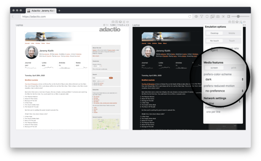 Polypane showing a website in dark and light mode side by side