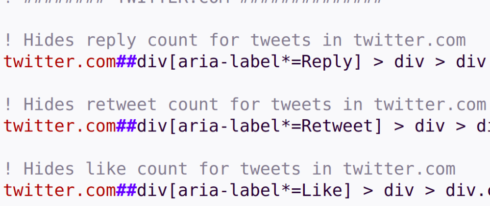 Cover image for Hide like counts on Twitter and karma points on Reddit with uBlock Origin
