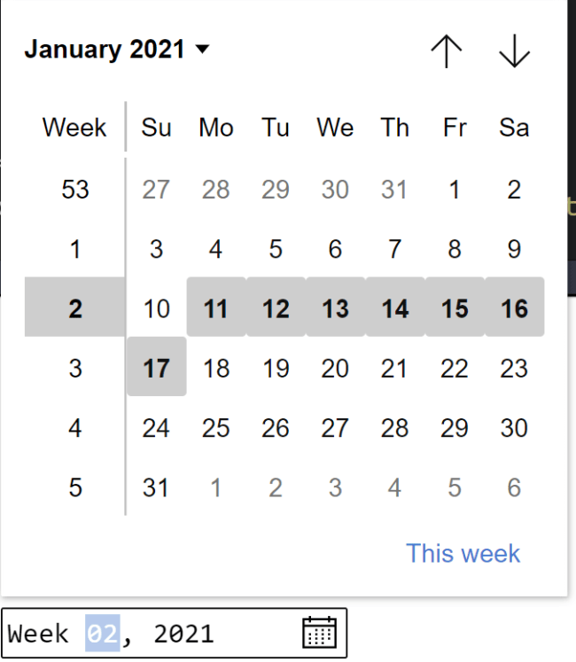 Example of week control